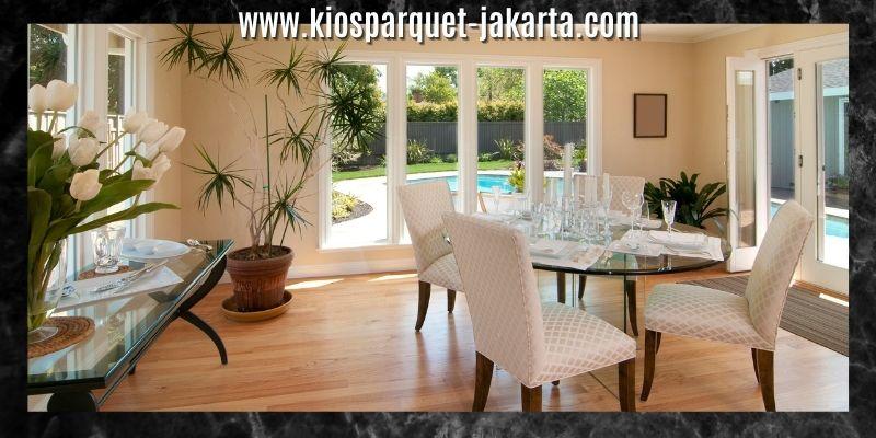 Ide Dekorasi Ruang Makan - menggunakan lantai kayu solid jati